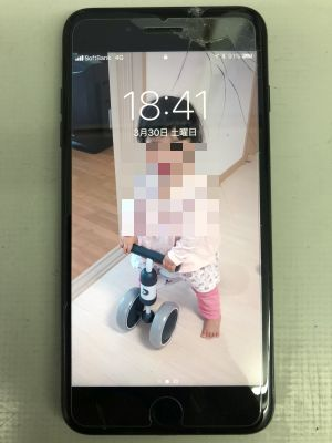 iPhone7Plusガラス割れ from 大分市内