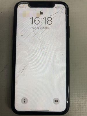 iPhoneXRガラス割れ ~大分市木田