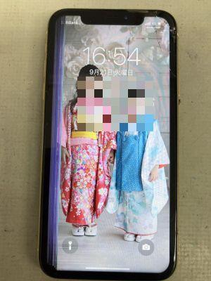 液晶縦線故障のiPhoneXR ~大分市常行